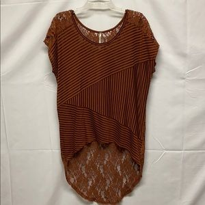 Free People sheer high low top size small